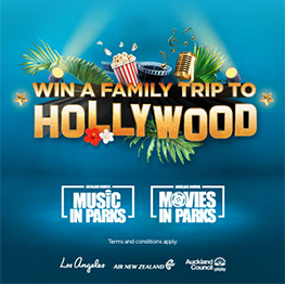 Palm tree leaves with spotlight, popcorn, film reel, old microphone with copy underneath reading Win a family trip to Hollywood